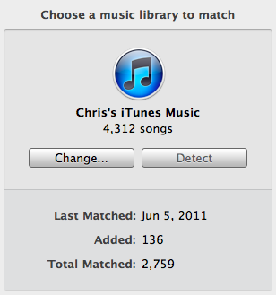Rdio Matched songs. I'm still missing about 1600